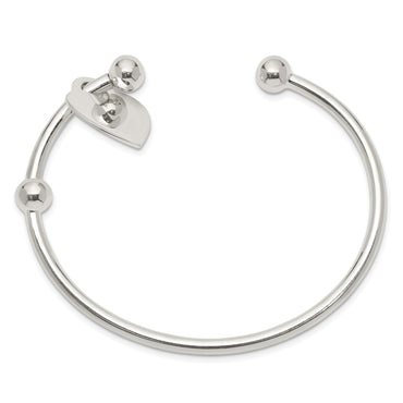 Sterling Silver 3mm Heart Bangle Bracelet QB416 - shirin-diamonds