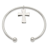 Sterling Silver Cross Cuff Bangle Bracelet QB418 - shirin-diamonds