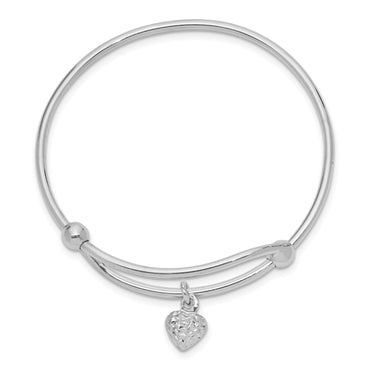 Sterling Silver Rhodium Plated Diamond Cut Heart Baby Bangle QB669 - shirin-diamonds