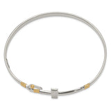 Sterling Silver 14k Yellow Gold Accent Cross Hook Catch Bangle QB749 - shirin-diamonds