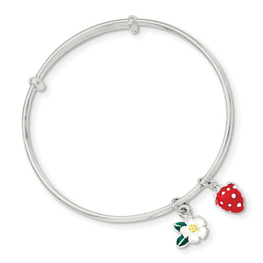 Sterling Silver Enamel Kid's Flower and Strawberry Bangle QB887 - shirin-diamonds