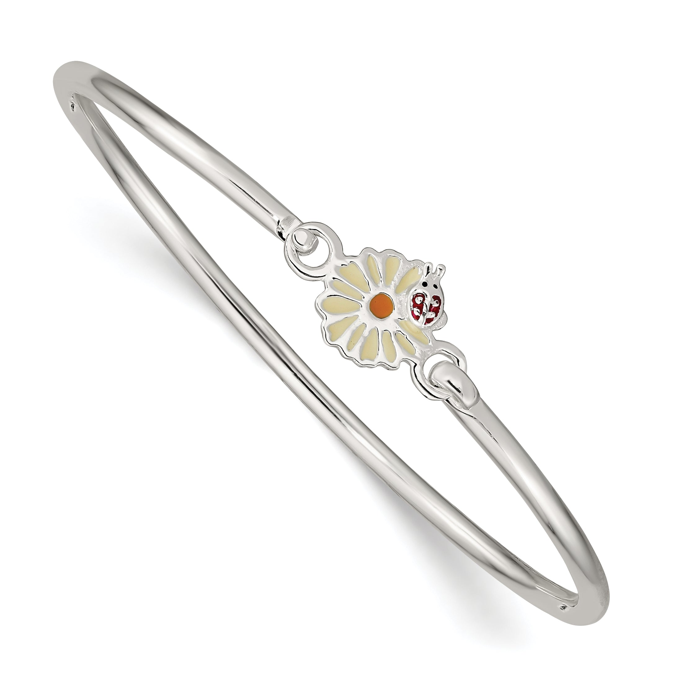 Sterling Silver Enamel Flower Kid's Bangle Bracelet QB890 - shirin-diamonds