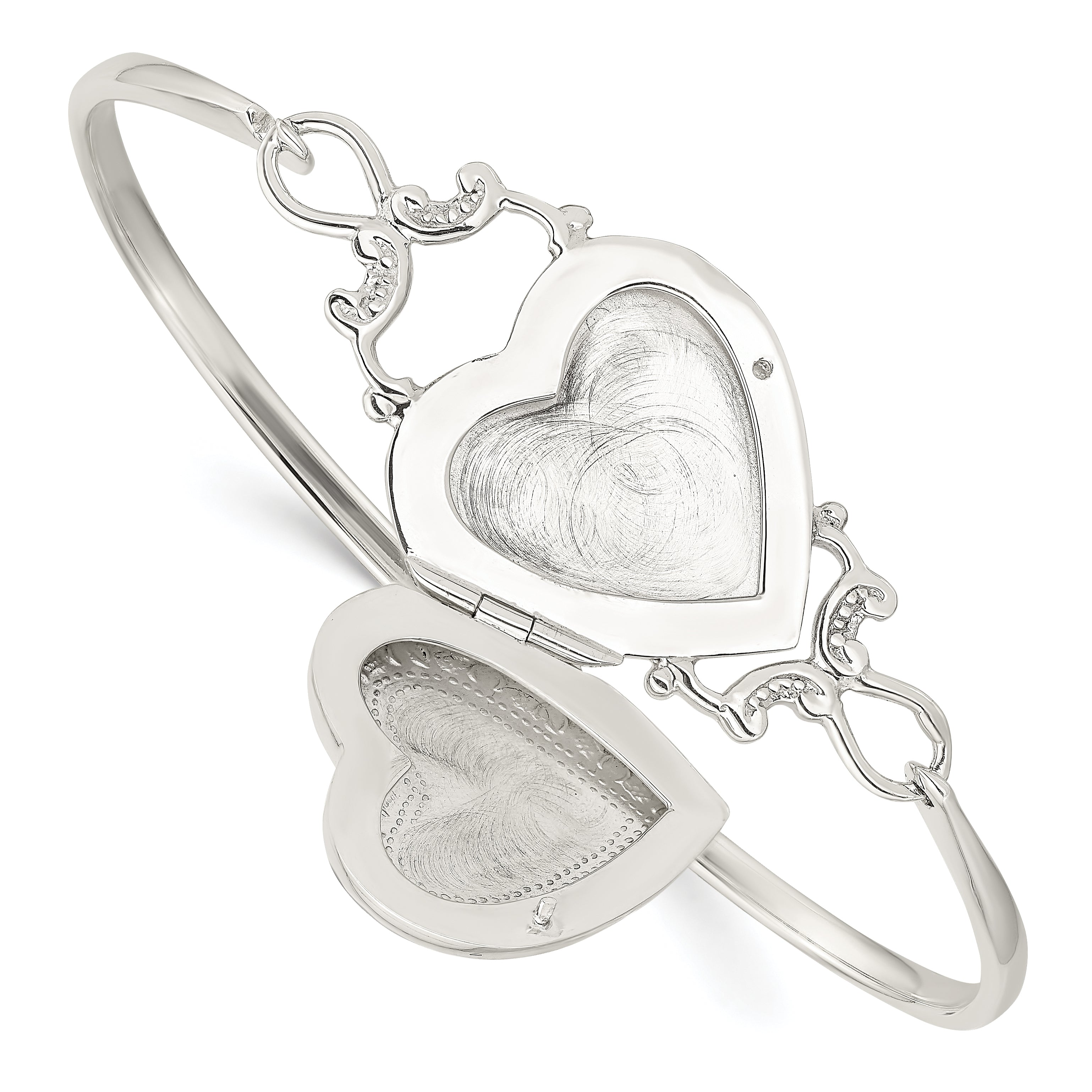 Sterling Silver Heart Locket Flexible Bangle Bracelet QB988 - shirin-diamonds