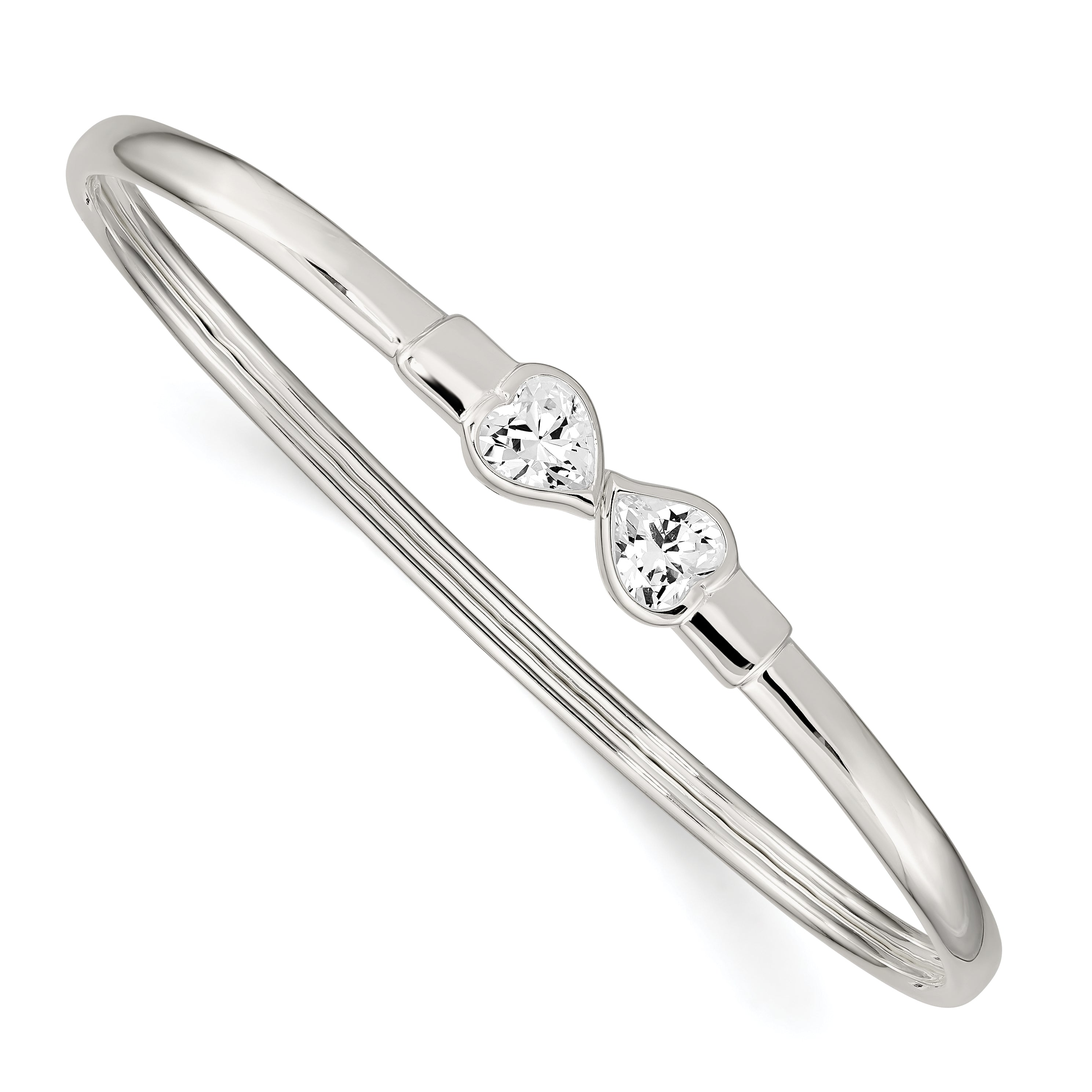 Sterling Silver CZ Heart Open/Flexible Bangle Bracelet QB995 - shirin-diamonds