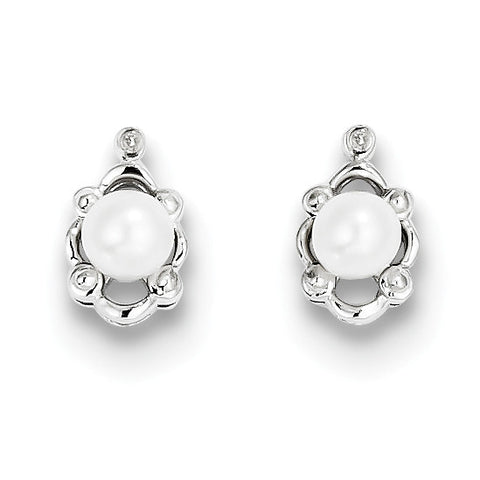 Sterling Silver Rhodium-plated FW Cultured Pearl & Diam. Earrings QBE21JUN - shirin-diamonds
