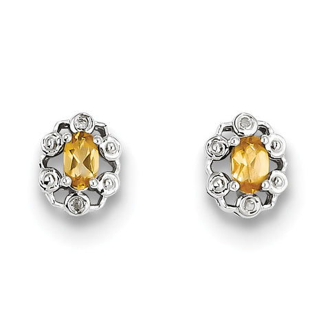 Sterling Silver Rhodium-plated Citrine & Diam. Earrings QBE22NOV - shirin-diamonds