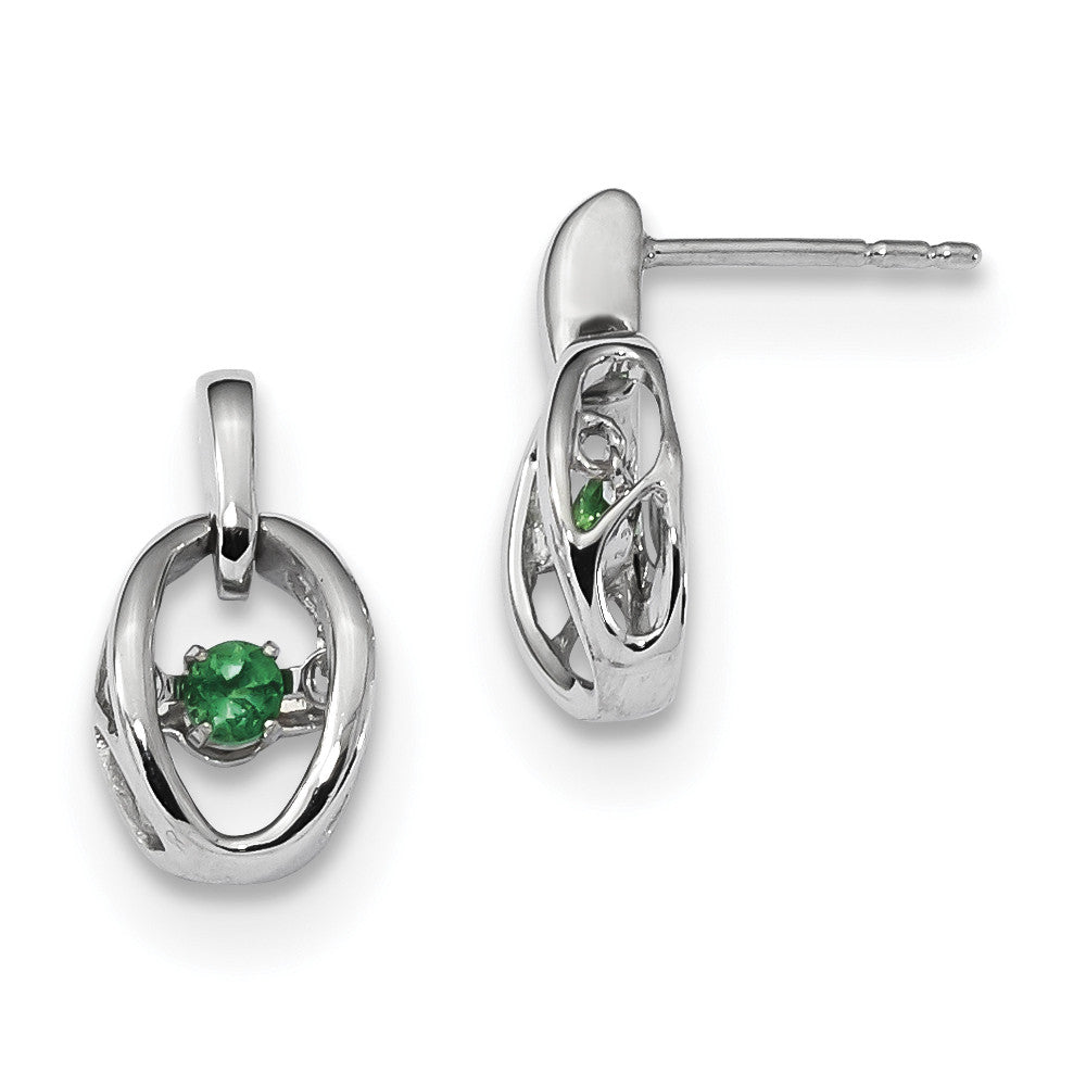 Sterling Silver Rhodium Created Emerald Birthstone Vibrant Earrings QBE32MAY - shirin-diamonds