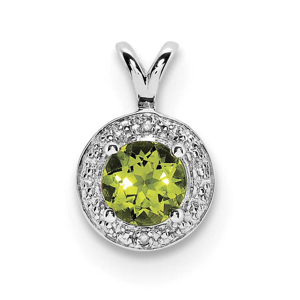Sterling Silver Rhodium-plated Diam. & Peridot Pendant QBPD11AUG - shirin-diamonds
