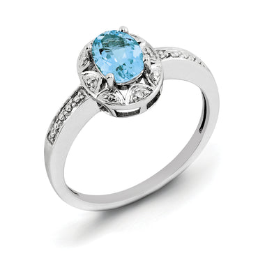 Sterling Silver Rhodium-plated Diam. & Blue Topaz Ring QBR10DEC - shirin-diamonds