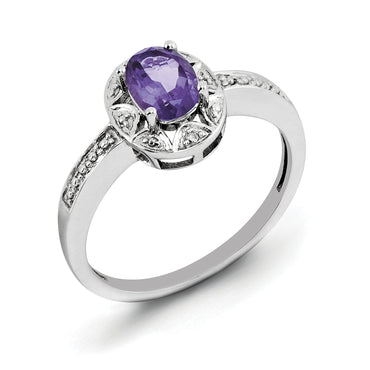 Sterling Silver Rhodium-plated Diam. & Amethyst Ring QBR10FEB - shirin-diamonds