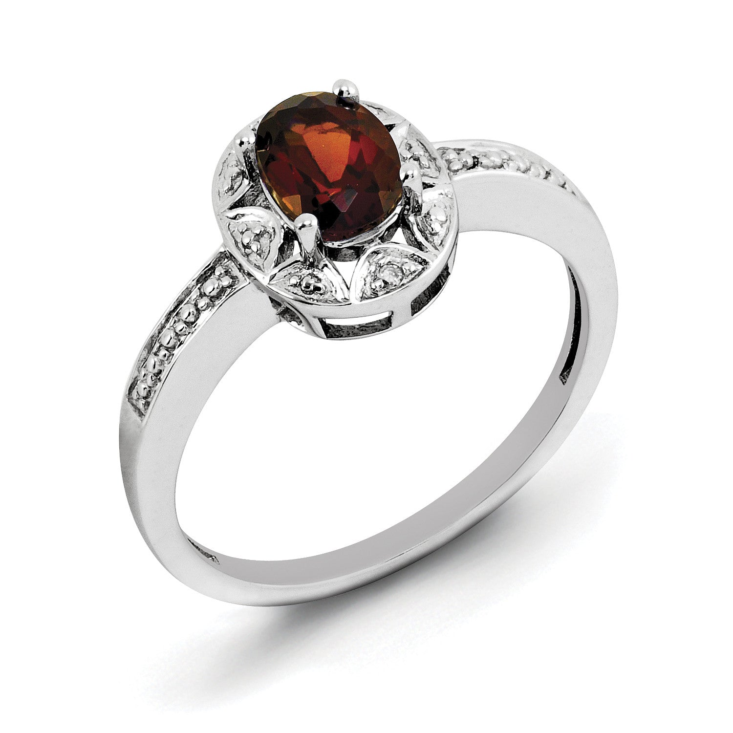 Sterling Silver Rhodium-plated Diam. & Garnet Ring QBR10JAN - shirin-diamonds