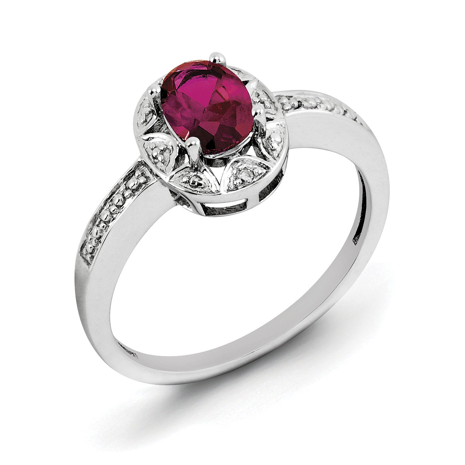 Sterling Silver Rhodium-plated Diam. & Created Ruby Ring QBR10JUL - shirin-diamonds