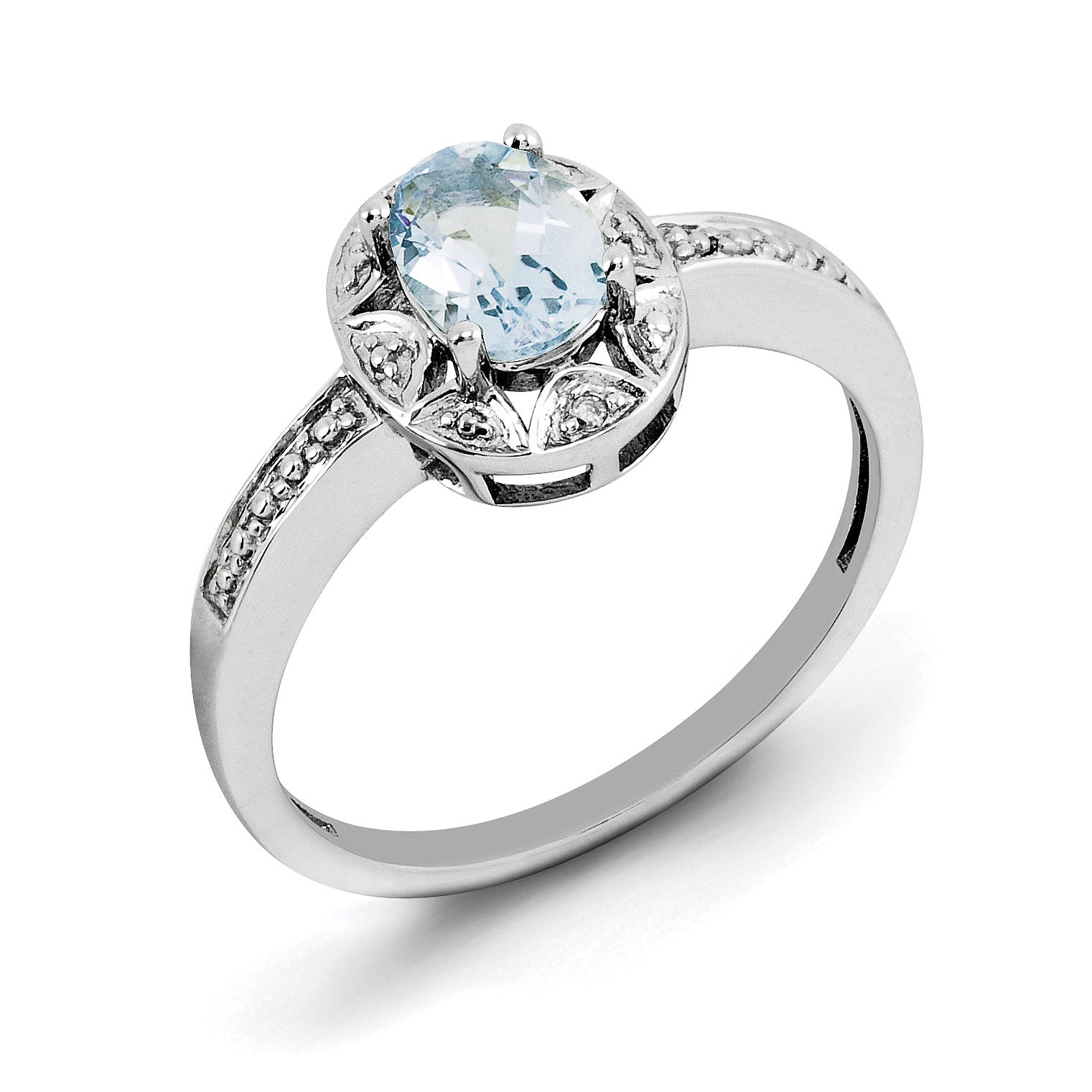 Sterling Silver Rhodium-plated Diam. & Aquamarine Ring QBR10MAR - shirin-diamonds