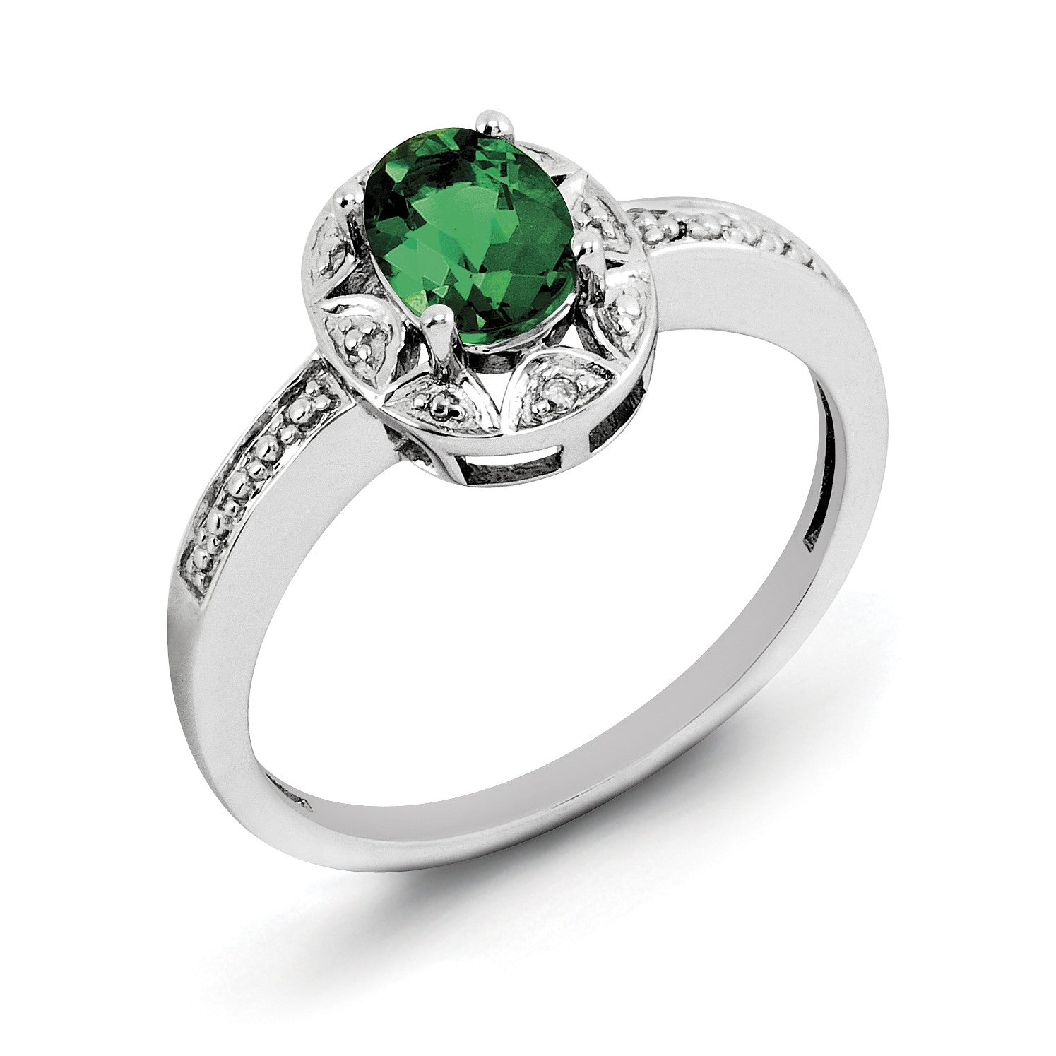 Sterling Silver Rhodium-plated Diam. & Created Emerald Ring QBR10MAY - shirin-diamonds