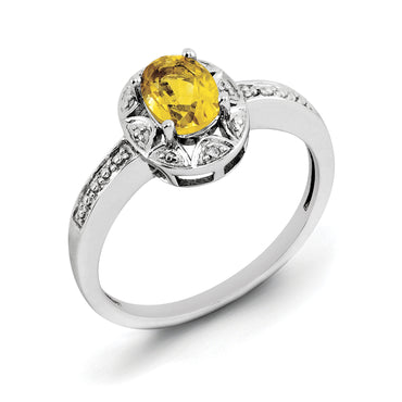 Sterling Silver Rhodium-plated Diam. & Citrine Ring QBR10NOV - shirin-diamonds