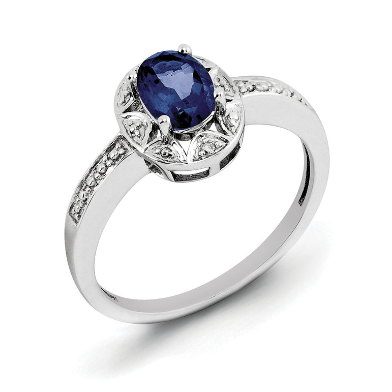 Sterling Silver Rhodium-plated Diam. & Created Sapphire Ring QBR10SEP - shirin-diamonds