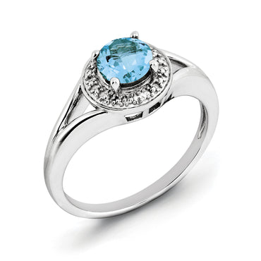 Sterling Silver Rhodium-plated Diam. & Blue Topaz Ring QBR11DEC - shirin-diamonds