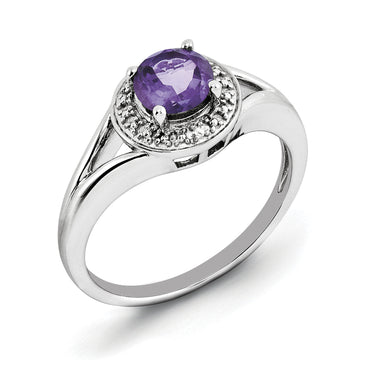 Sterling Silver Rhodium-plated Diam. & Amethyst Ring QBR11FEB - shirin-diamonds