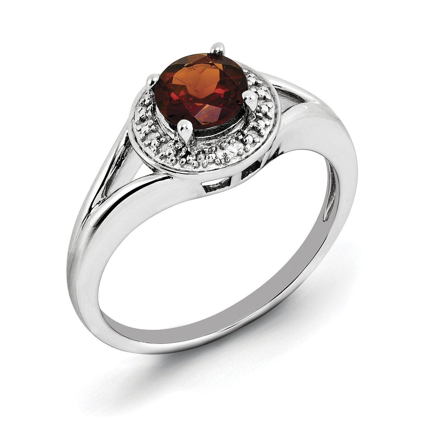 Sterling Silver Rhodium-plated Diam. & Garnet Ring QBR11JAN - shirin-diamonds
