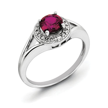 Sterling Silver Rhodium-plated Diam. & Created Ruby Ring QBR11JUL - shirin-diamonds