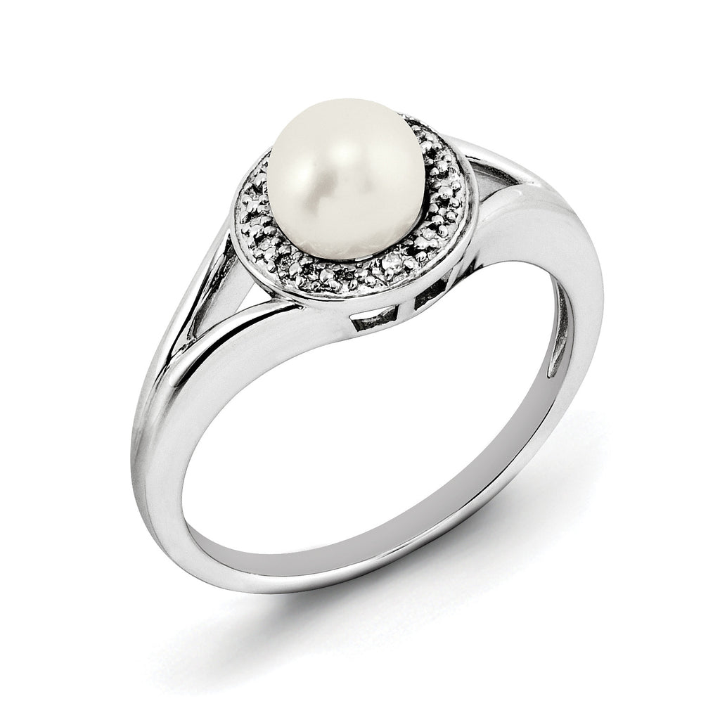 Sterling Silver Rhodium-plated Diam. & FW Cultured Pearl Ring QBR11JUN