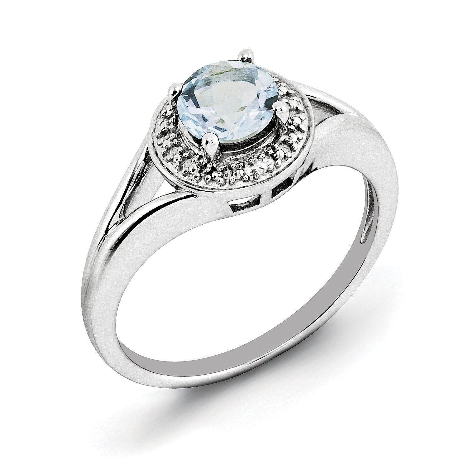 Sterling Silver Rhodium-plated Diam. & Aquamarine Ring QBR11MAR - shirin-diamonds