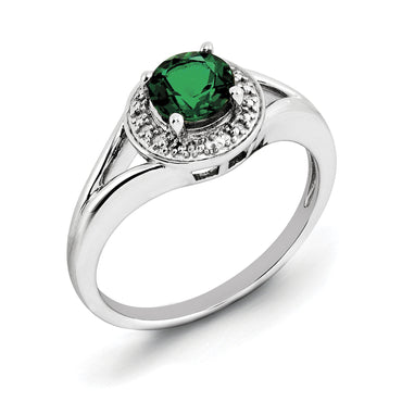 Sterling Silver Rhodium-plated Diam. & Created Emerald Ring QBR11MAY - shirin-diamonds