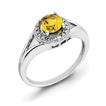 Sterling Silver Rhodium-plated Diam. & Citrine Ring QBR11NOV - shirin-diamonds