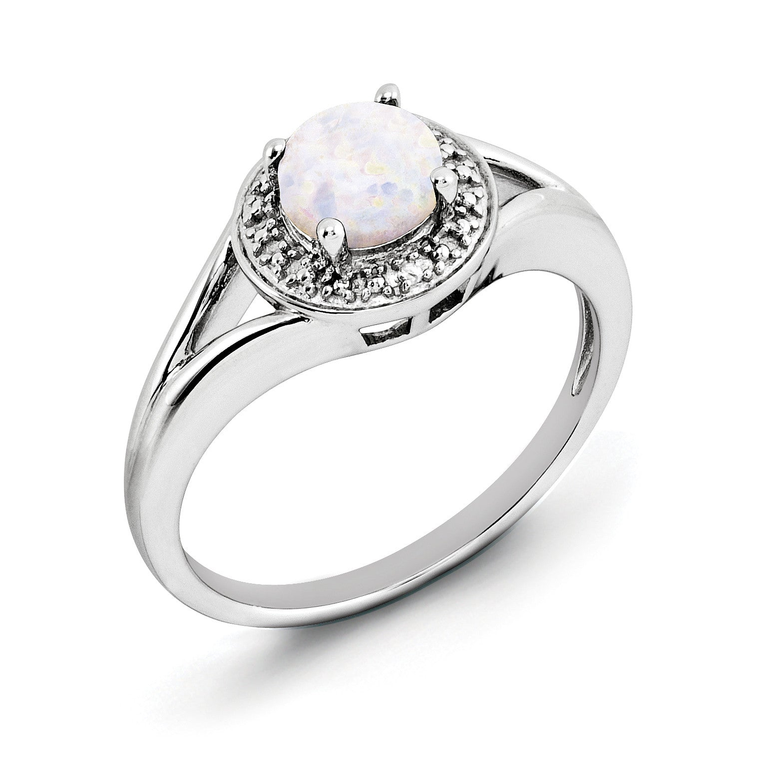 Sterling Silver Rhodium-plated Diam. & Created Opal Ring QBR11OCT - shirin-diamonds