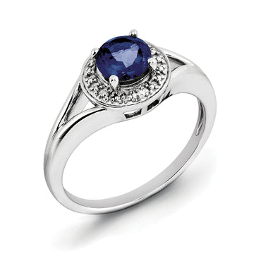 Sterling Silver Rhodium-plated Diam. & Created Sapphire Ring QBR11SEP - shirin-diamonds