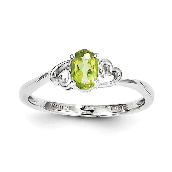 Sterling Silver Rhodium-plated Peridot Ring QBR15AUG