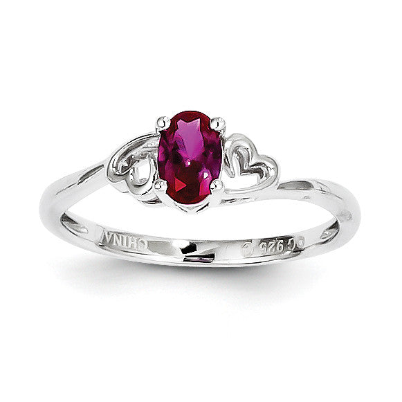 Sterling Silver Rhodium-plated Created Ruby Ring QBR15JUL - shirin-diamonds