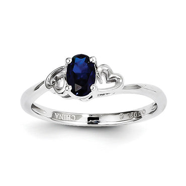 Sterling Silver Rhodium-plated Created Sapphire Ring QBR15SEP - shirin-diamonds