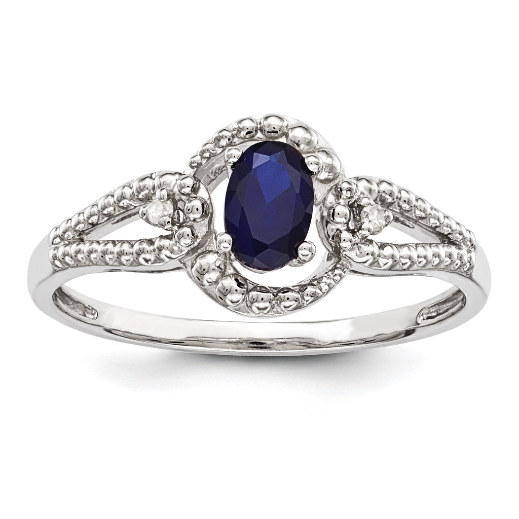 Sterling Silver Rhodium-plated Created Sapphire & Diam. Ring QBR16SEP