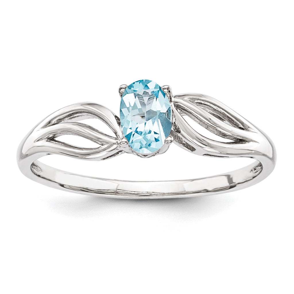 Sterling Silver Rhodium-plated Light Swiss Blue Topaz Ring QBR17DEC