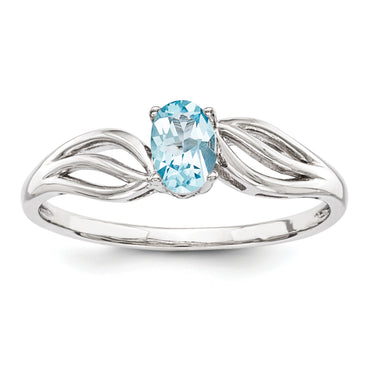Sterling Silver Rhodium-plated Light Swiss Blue Topaz Ring QBR17DEC - shirin-diamonds
