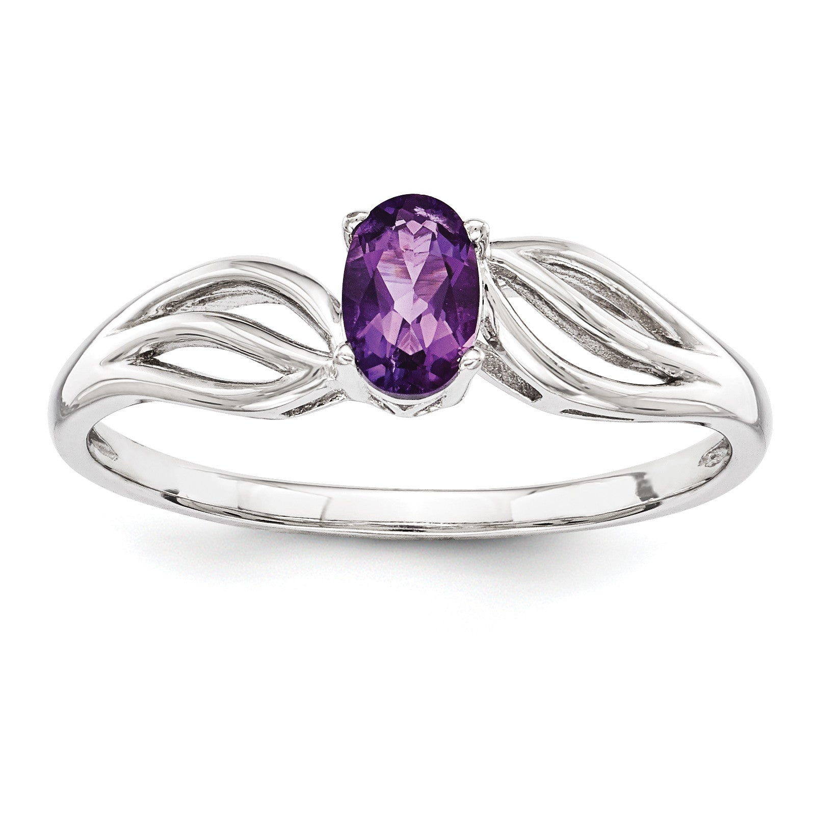 Sterling Silver Rhodium-plated Amethyst Ring QBR17FEB - shirin-diamonds