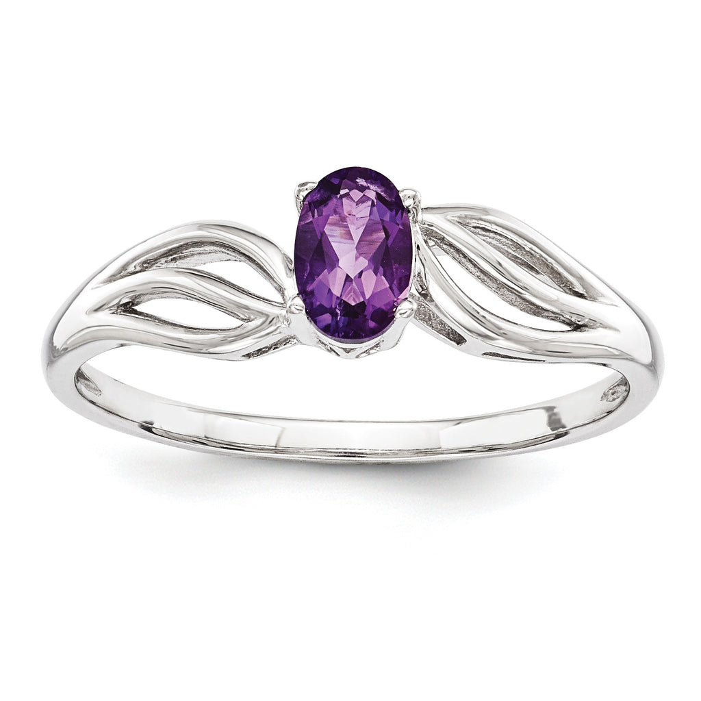 Sterling Silver Rhodium-plated Amethyst Ring QBR17FEB