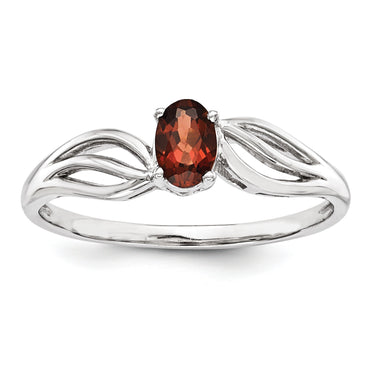 Sterling Silver Rhodium-plated Garnet Ring QBR17JAN - shirin-diamonds