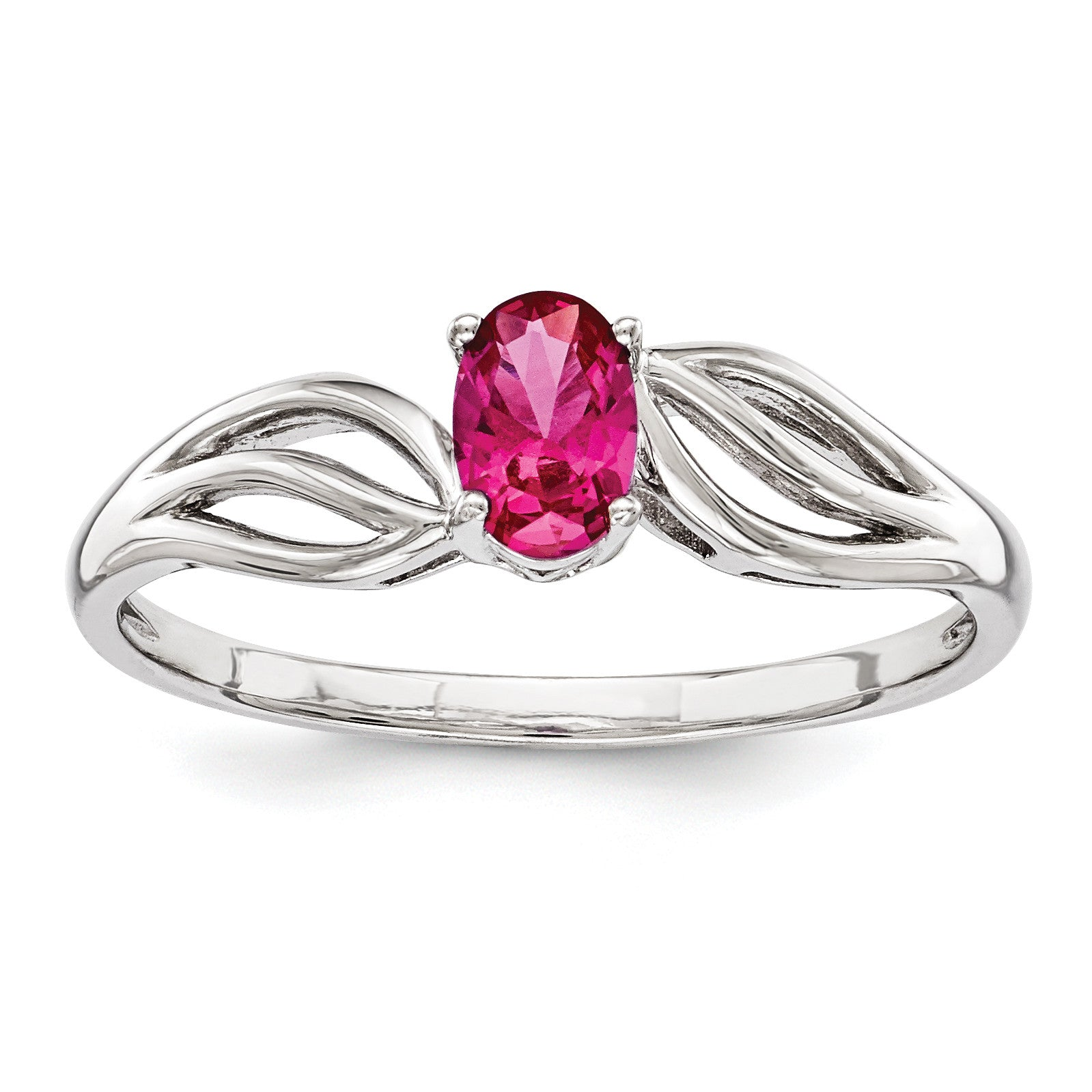 Sterling Silver Rhodium-plated Created Ruby Ring QBR17JUL - shirin-diamonds