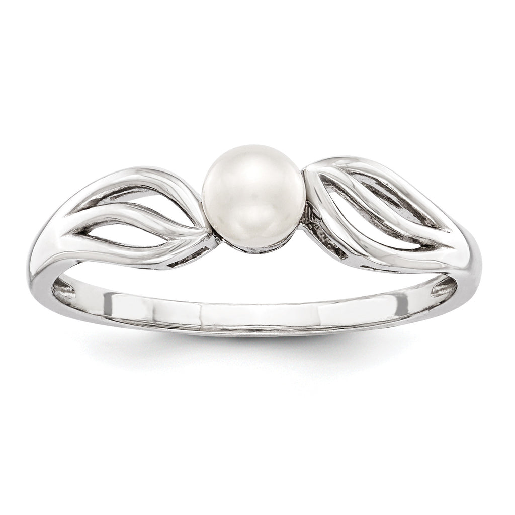 Sterling Silver Rhodium-plated FW Cultured Pearl Ring QBR17JUN