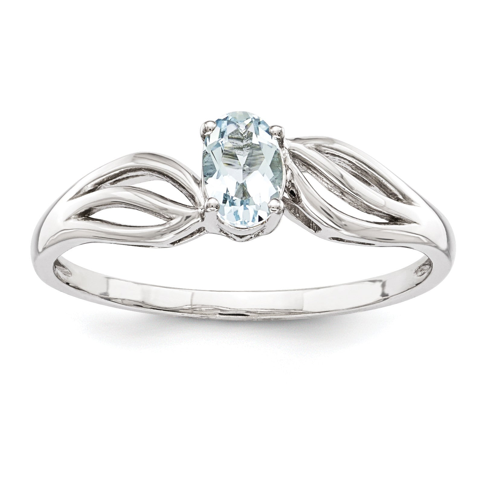 Sterling Silver Rhodium-plated Aquamarine Ring QBR17MAR - shirin-diamonds