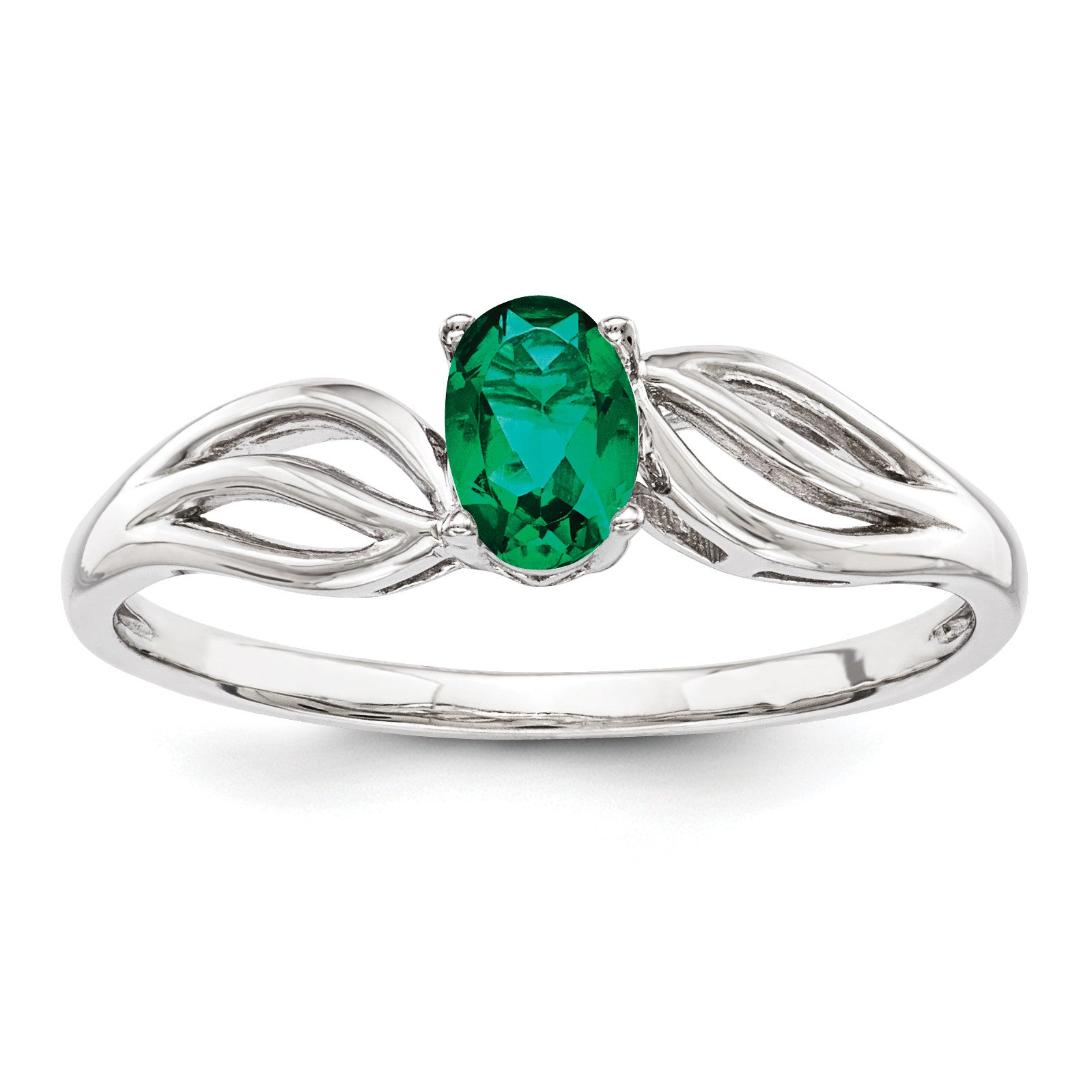 Sterling Silver Rhodium-plated Created Emerald Ring QBR17MAY - shirin-diamonds