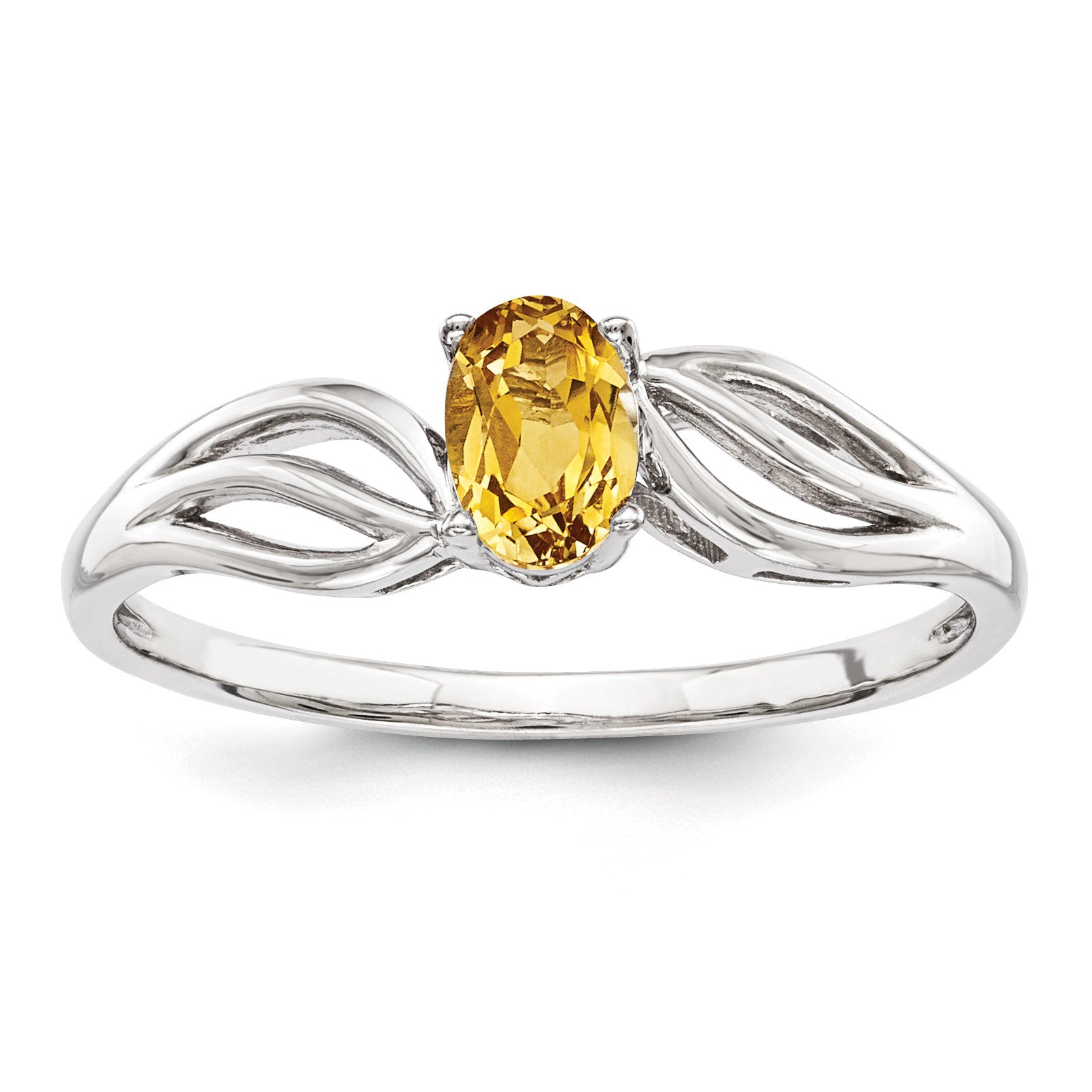Sterling Silver Rhodium-plated Citrine Ring QBR17NOV - shirin-diamonds