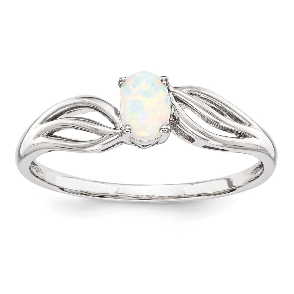 Sterling Silver Rhodium-plated Created Opal Ring QBR17OCT