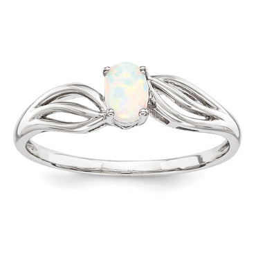 Sterling Silver Rhodium-plated Created Opal Ring QBR17OCT - shirin-diamonds
