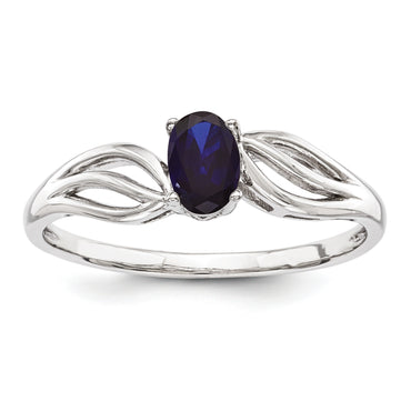 Sterling Silver Rhodium-plated Created Sapphire Ring QBR17SEP - shirin-diamonds