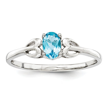 Sterling Silver Rhodium-plated Light Swiss Blue Topaz Ring QBR20DEC - shirin-diamonds