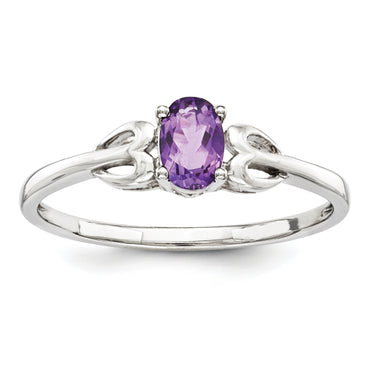 Sterling Silver Rhodium-plated Amethyst Ring QBR20FEB - shirin-diamonds