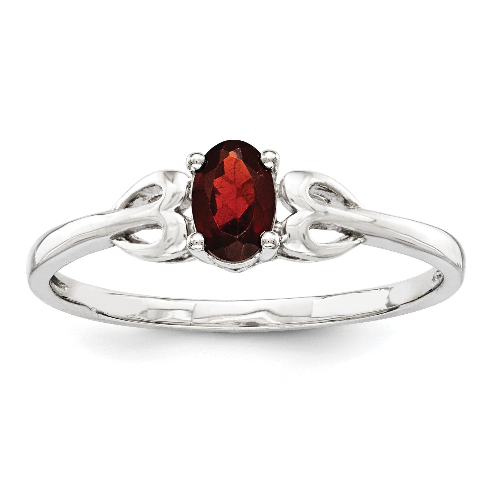 Sterling Silver Rhodium-plated Garnet Ring QBR20JAN - shirin-diamonds